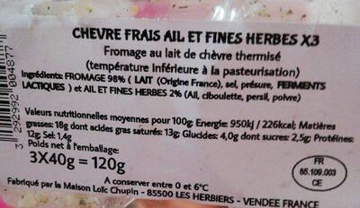 Fromage de chèvre frais Ail & Fines herbes - Ingrédients - fr