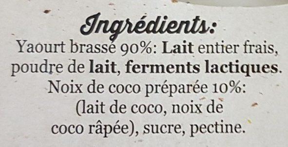 Le yaourt fermier coco - Ingrediënten