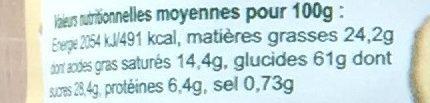 Palets Bretons - Biscuits Bio - Valori nutrizionali - fr