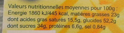 Madeleines a l'huile de Colza - Voedingswaarden