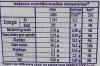 Dattes Sidi Mehrez - Voedingswaarden - fr