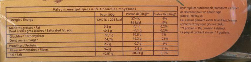 Dattes branchées de Tunisie - Informations nutritionnelles - fr