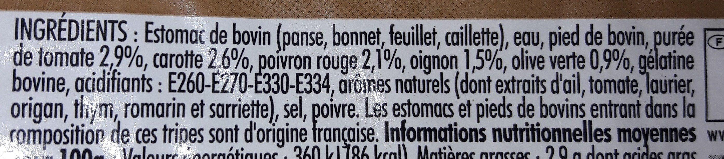 Tripes à La Provençale, La Barquette De, 500g - Ingrédients