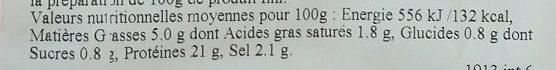 Jambon Cuit de Paris - Informations nutritionnelles
