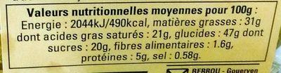 Galette des Rois à la Frangipane - Nutrition facts - fr