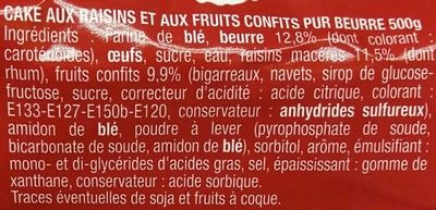 Cake aux fruits pur beurre - Ingredients