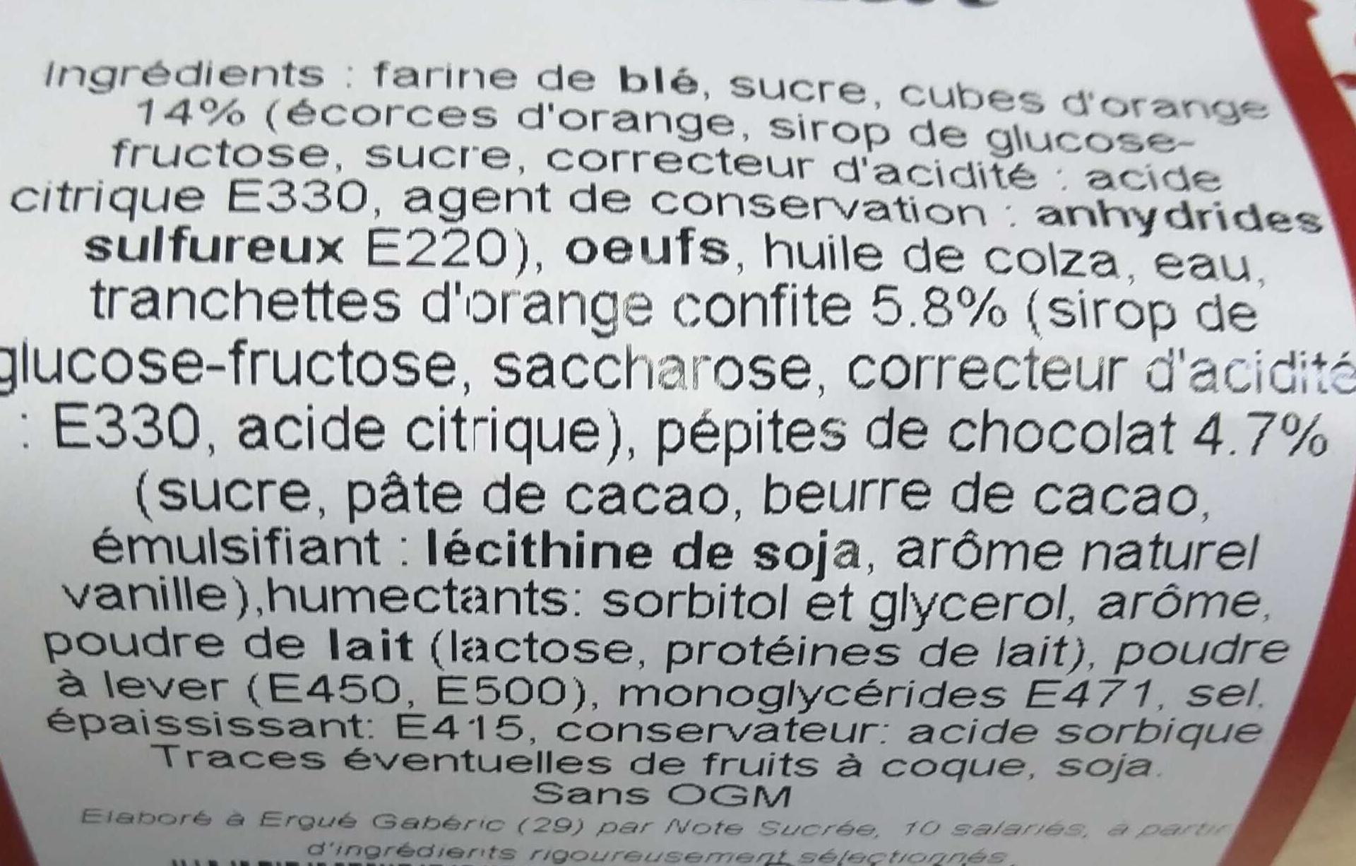 Cake Orange Chocolat - Ingredients - fr