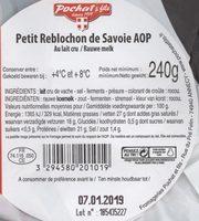 Reblochon de Savoie - Ingrédients