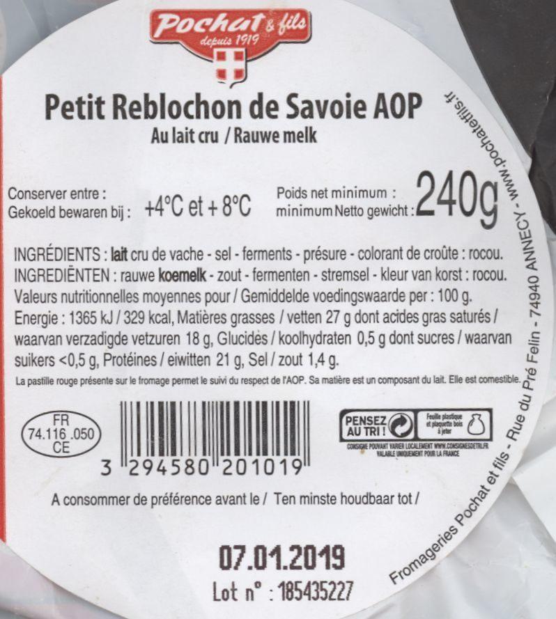 Reblochon de Savoie - Informations nutritionnelles