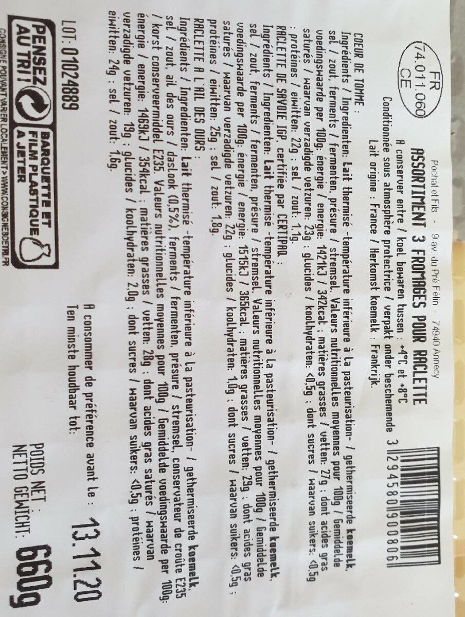 Raclette pochat et fils - Nutrition facts - fr