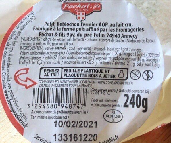Reblochon fermier de Savoie - Nutrition facts - fr