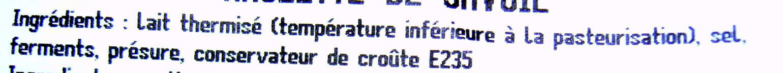 Raclette de Savoie - Ingredients - fr