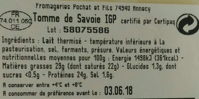 Tomme de savoie 29% MG - Ingredients - fr