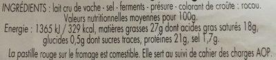 Reblochon de Savoie - Nutrition facts - fr