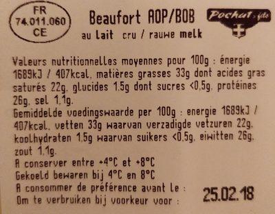 Beaufort - Ingredients - fr