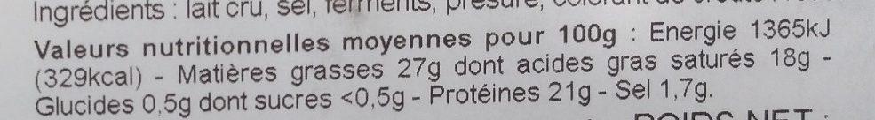 Reblochon De Savoie Au Lait Cru, La Pointe Percée - Nutrition facts - fr