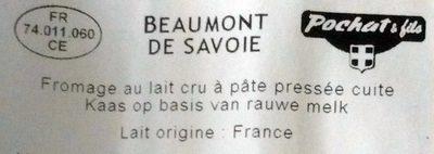 Beaumont de Savoie au lait cru - Ingredients - fr