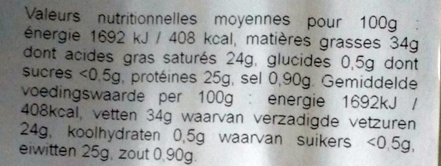 Beaumont de Savoie au lait cru - Nutrition facts - fr