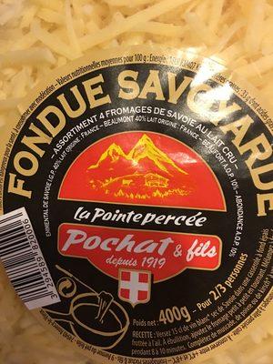 Fondue Savoyarde aux 4 fromages au lait cru LA POINTE PERCEE, 32%MG - Ingredients - fr