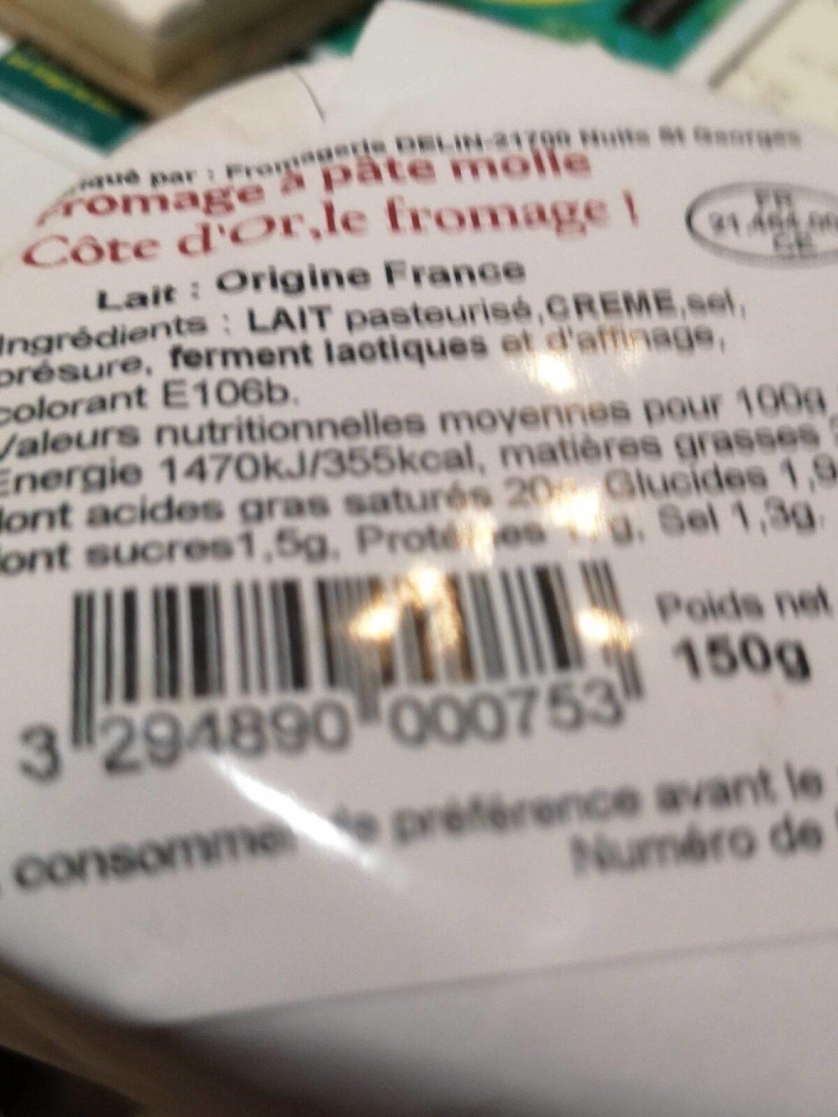 Cote d'or fromage à pâte molle - Ingredients - fr