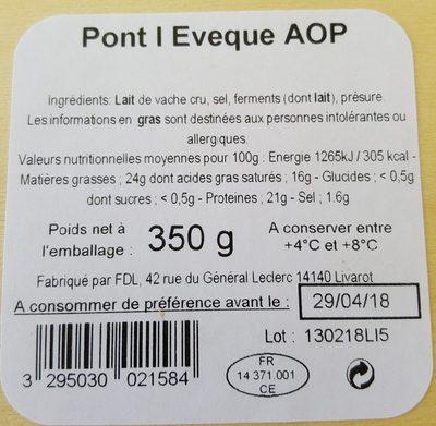 Pont l'évèque AOP - Ingrédients - fr