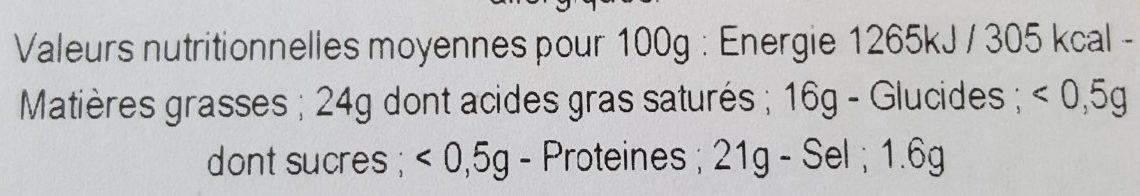 Pont l'évèque AOP - Informations nutritionnelles - fr