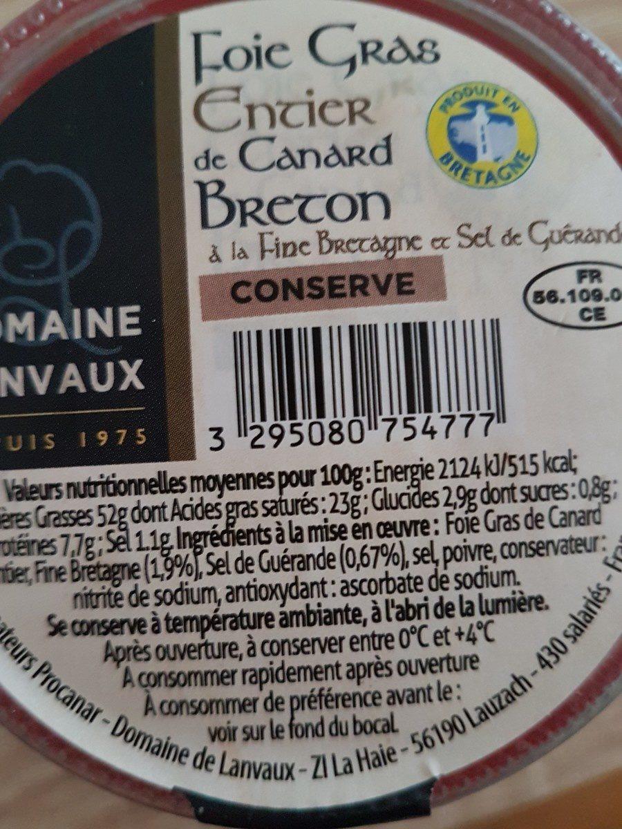 Foie gras canard - Ingrediënten - fr