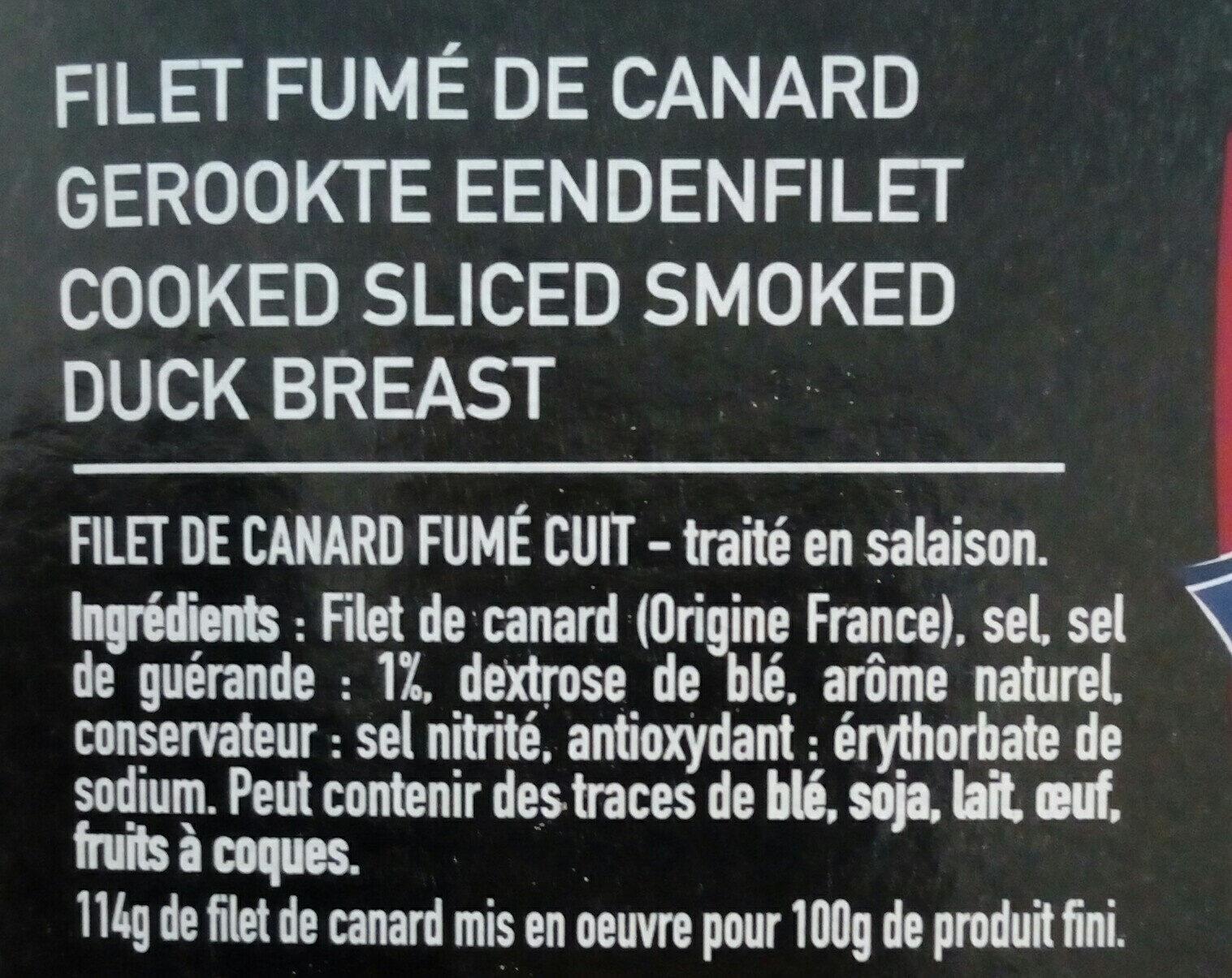 Filet de canard fume pretranche PROCANAR - Ingrédients - fr