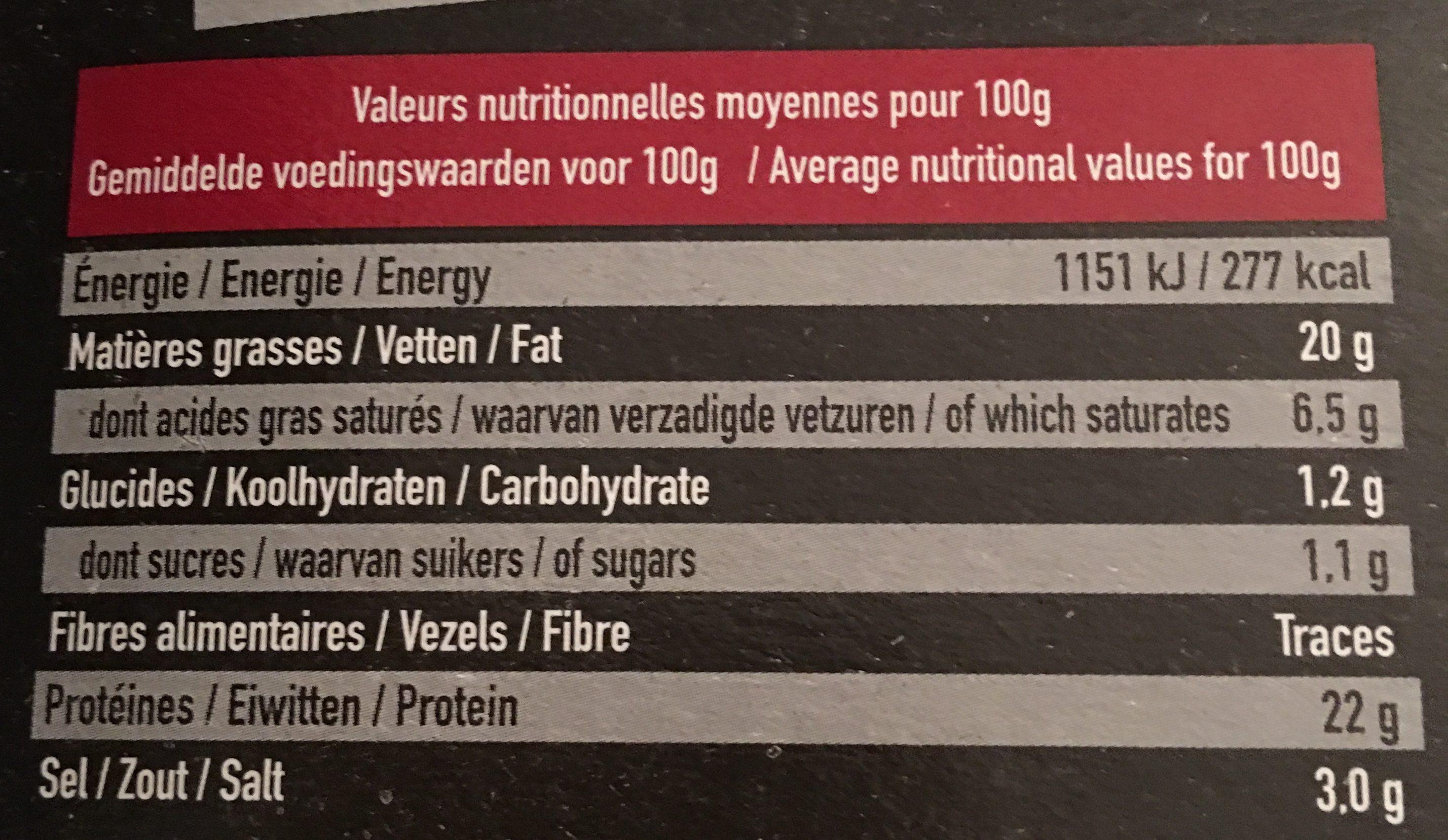 Filet de canard fume pretranche PROCANAR - Informations nutritionnelles - fr