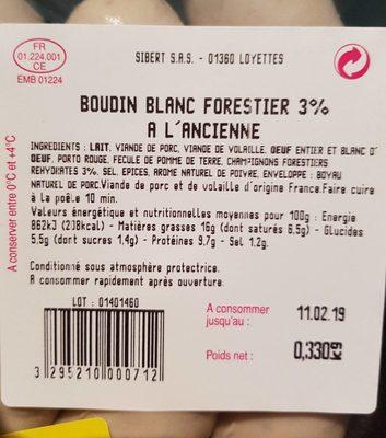 Boudin blanc forestier 3% à l'ancienne - Ingrédients - fr