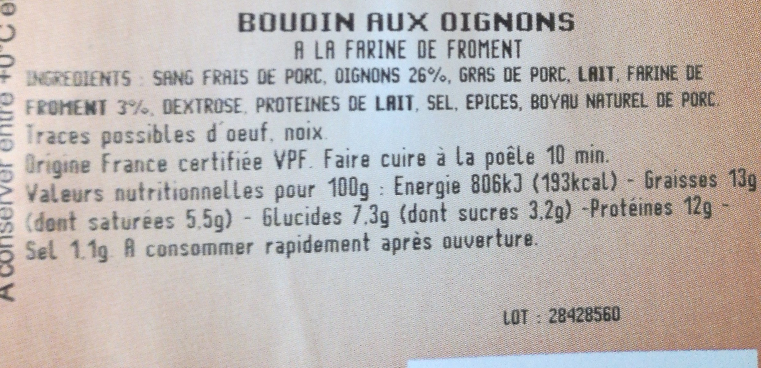 Boudin aux oignons - Ingrédients - fr