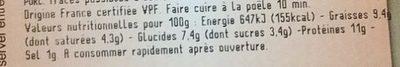Boudin de Lyon à la crème - Informations nutritionnelles