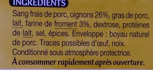 Boudin noir aux oignons à la farine de froment - Ingrédients - fr