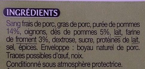 Boudin noir aux pommes à la farine de froment - Ingrédients - fr