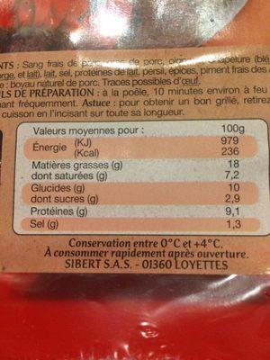 Boudin Noir Antillais - Ingredients - fr
