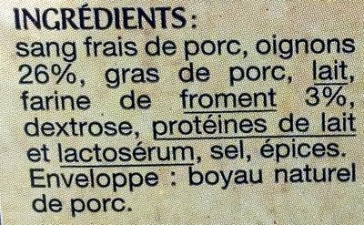 Boudins Noir aux Oignons à la Farine de Froment - Ingrédients - fr