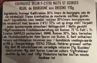 Regal de bourgogne aux raisins - Ingredients