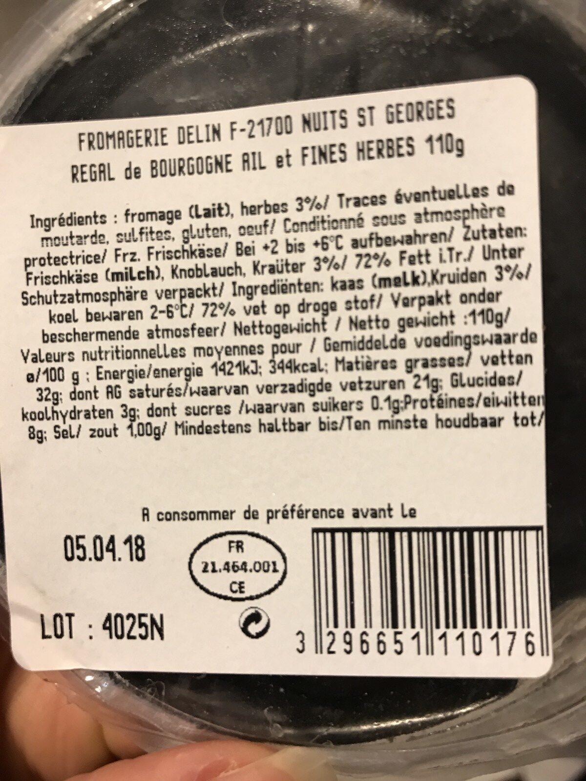 Le regal de bourgogne - Ingredients - fr