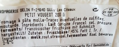 Fromage Le Petit Vougeot - Ingrédients - fr
