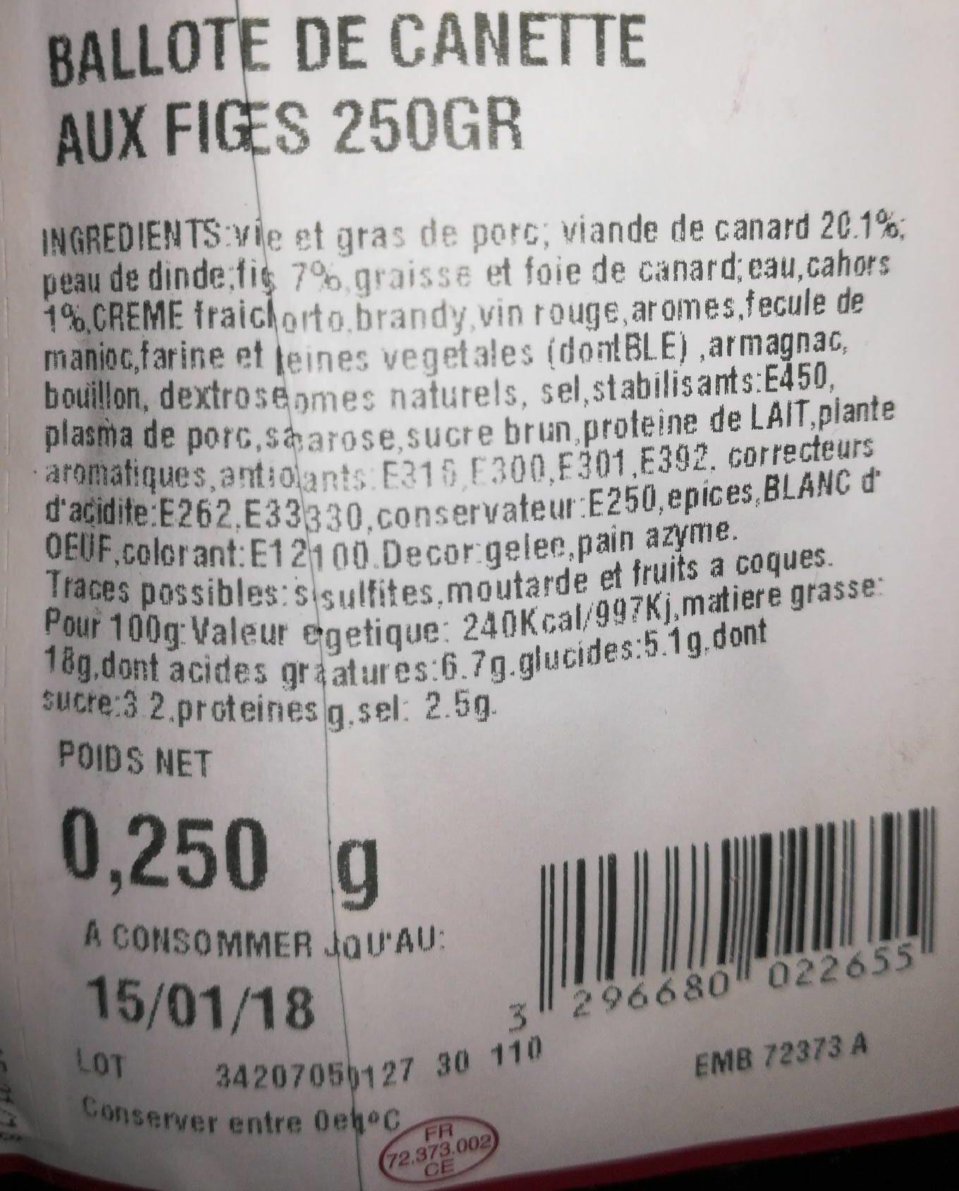 Ballotte de canette - Nutrition facts - fr