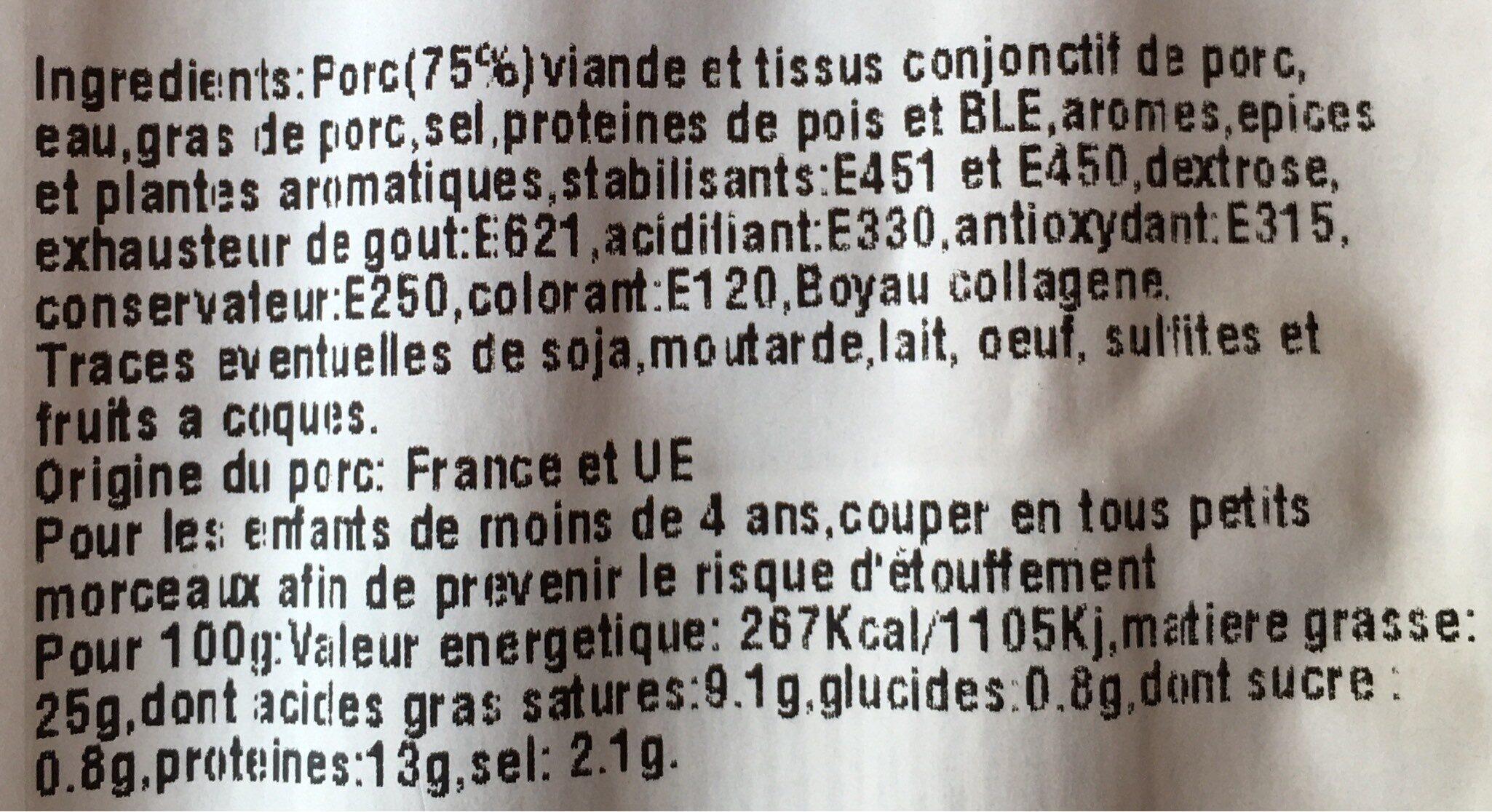 Saucisses de francfort - Nutrition facts - fr