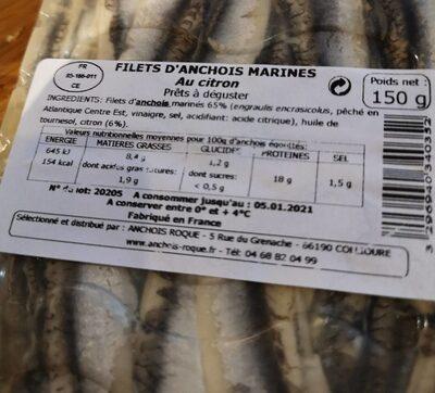 Anchois marinés au citron - Nutrition facts - fr