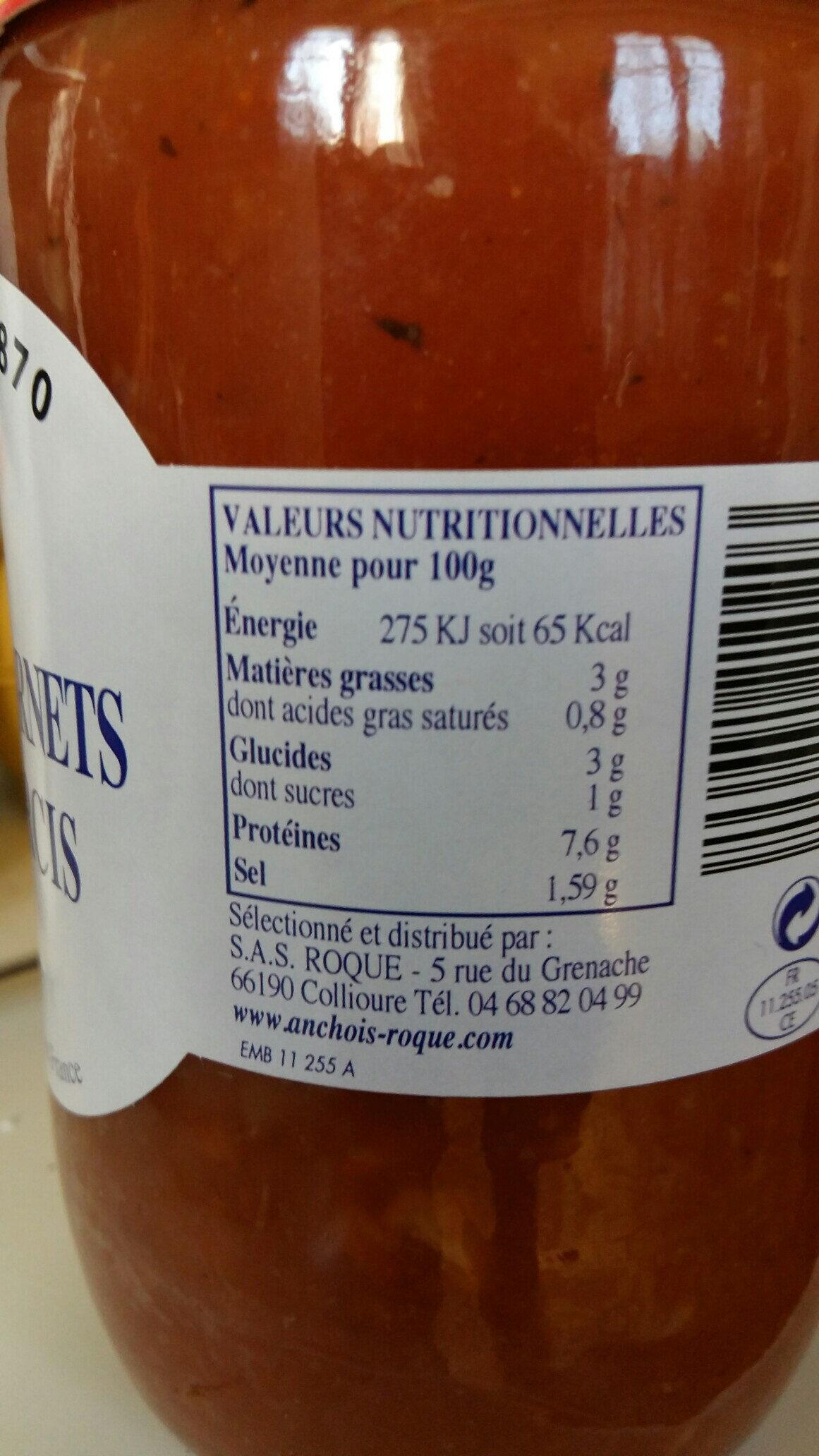 Encornets farcis - Nutrition facts - fr