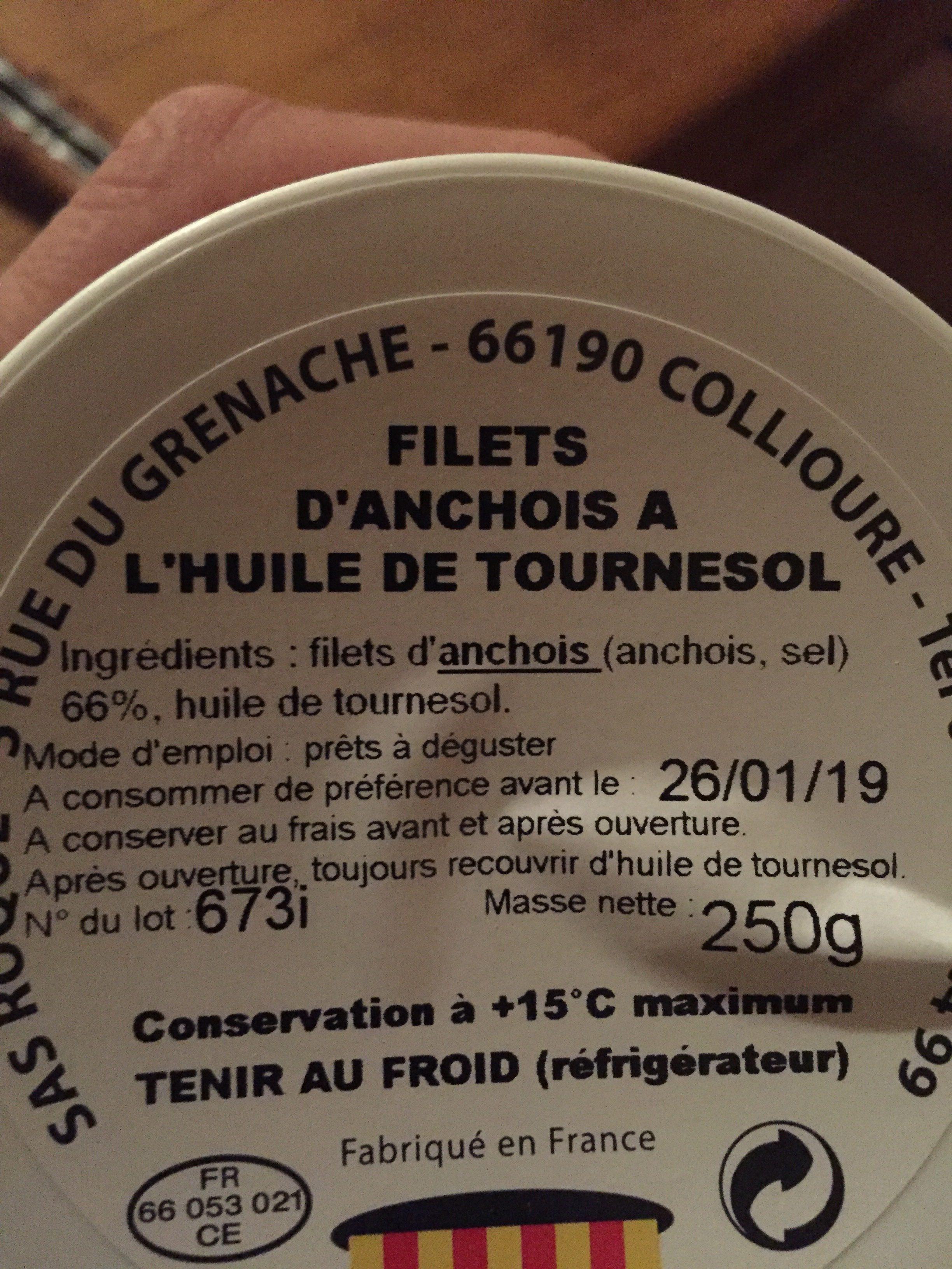 Filets d'anchois à l'huile de tournesol 250 g - Ingredients - fr