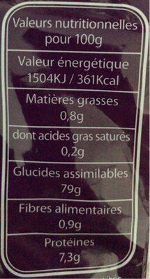 Riz Basmati - Valori nutrizionali - fr