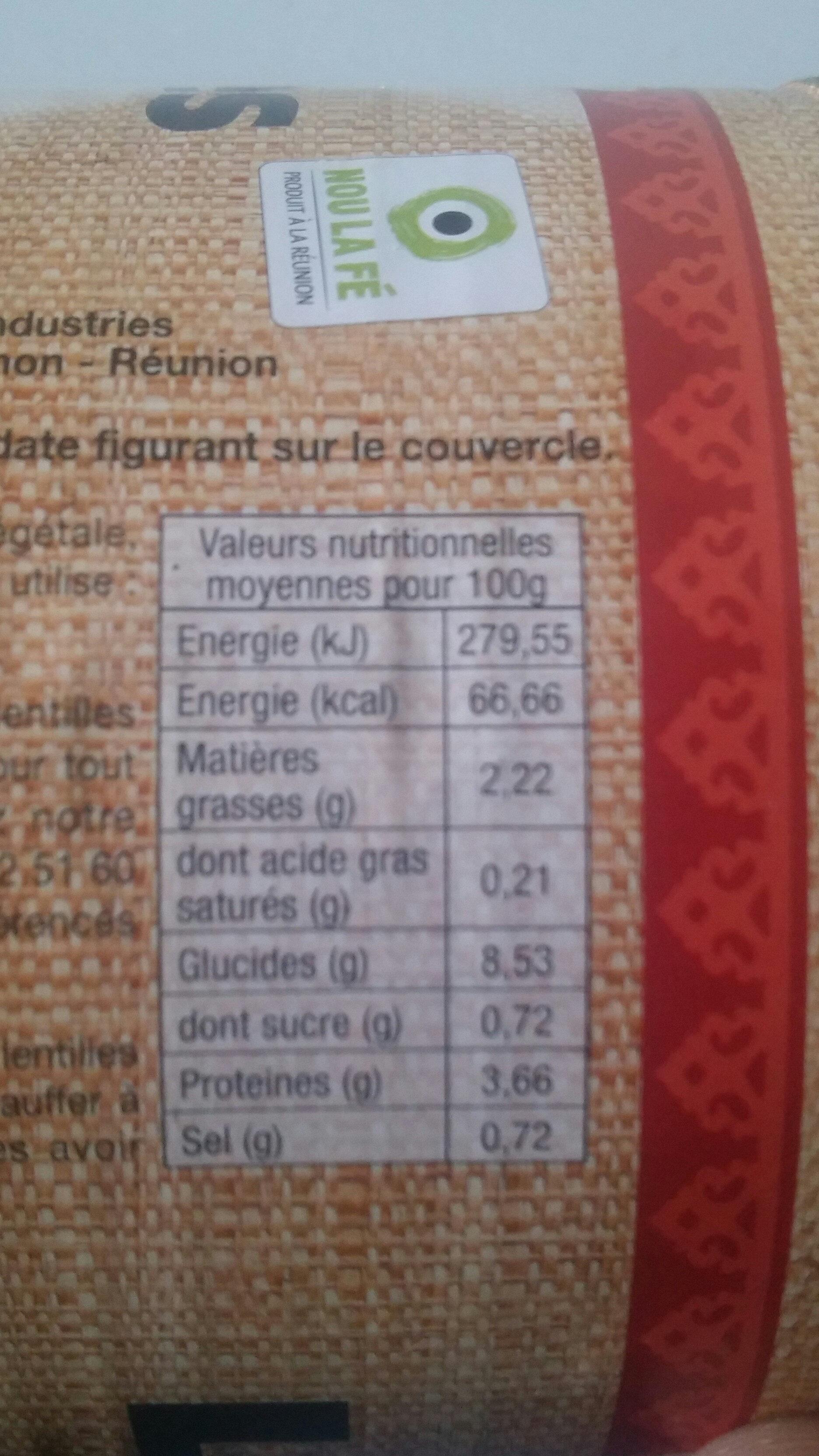Lentilles cuisinées à la créole - 800 g - Royal Bourbon - Nutrition facts - fr