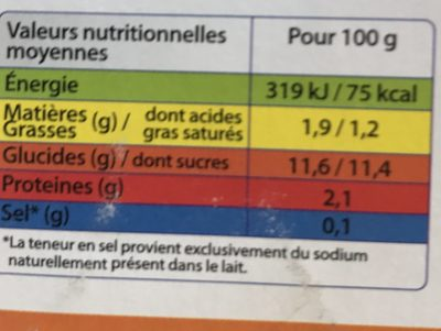 Yop - Informations nutritionnelles