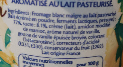 Fromage Blanc Vanille - Ingrédients