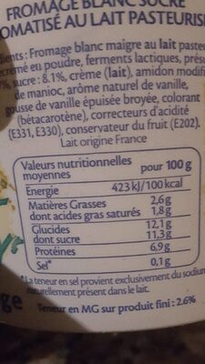 Fromage Blanc Vanille - Informations nutritionnelles - fr