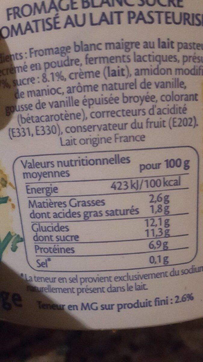 Fromage Blanc Vanille - Informations nutritionnelles